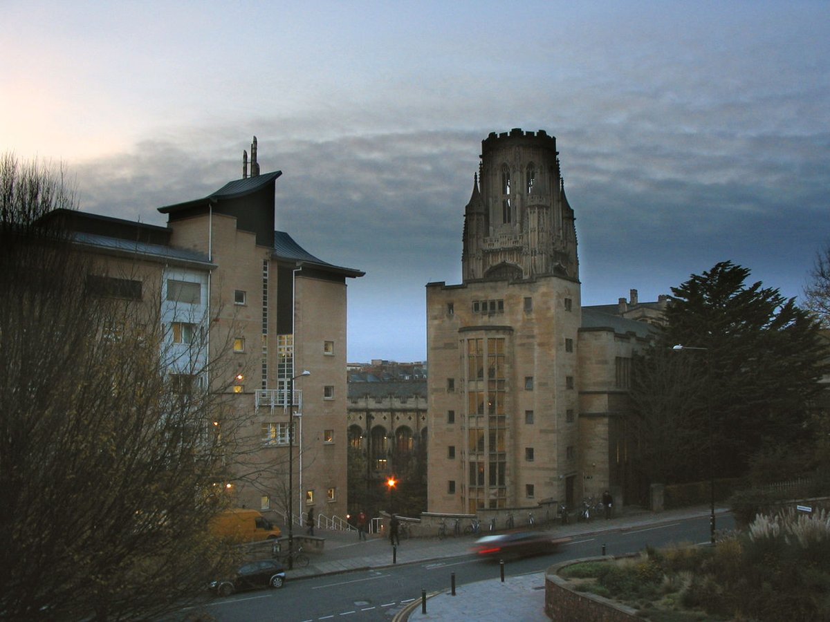 View of various Bristol University buildings from Cantock's Close